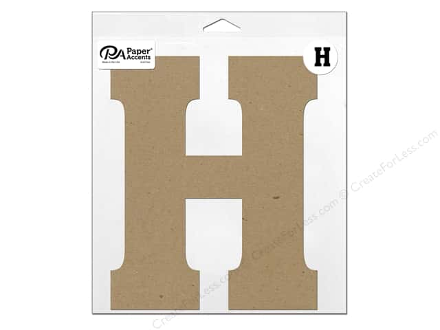 "Paper Accents Chipboard Shape Letter ""H"" 11 in. 1 pc. Natural"