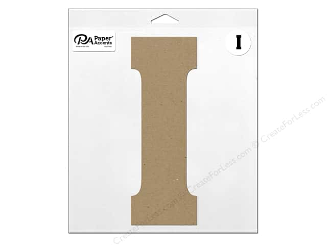 """Paper Accents Chipboard Shape Letter """"I"""" 11 in. 1 pc. Natural"""
