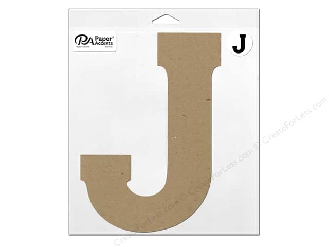 "Paper Accents Chipboard Shape Letter ""J"" 11 in. 1 pc. Natural"