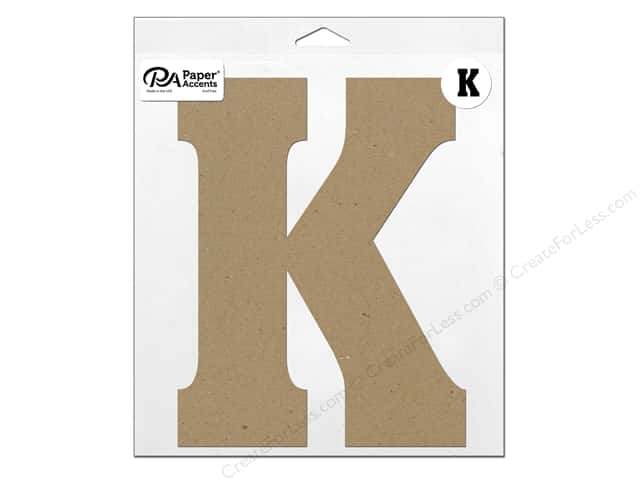 "Paper Accents Chipboard Shape Letter ""K"" 11 in. 1 pc. Natural"