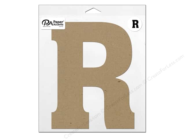 "Paper Accents Chipboard Shape Letter ""R"" 11 in. 1 pc. Natural"
