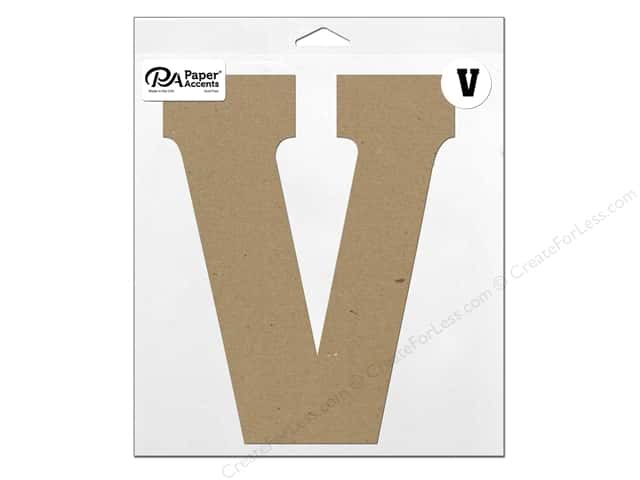 "Paper Accents Chipboard Shape Letter ""V"" 11 in. 1 pc. Natural"