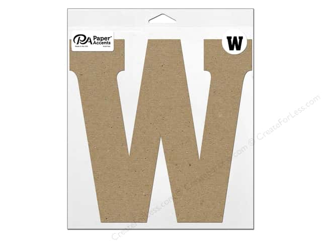 "Paper Accents Chipboard Shape Letter ""W"" 11 in. 1 pc. Natural"