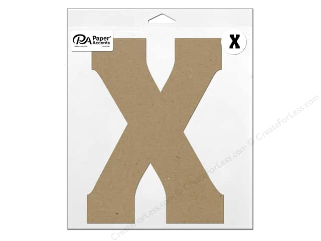 "Paper Accents Chipboard Shape Letter ""X"" 11 in. 1 pc. Natural"