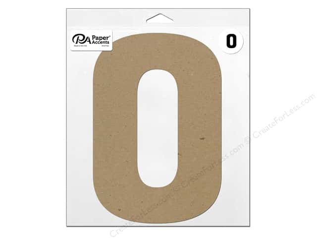 "Paper Accents Chipboard Shape Number ""0"" 11 in. 1 pc. Natural"