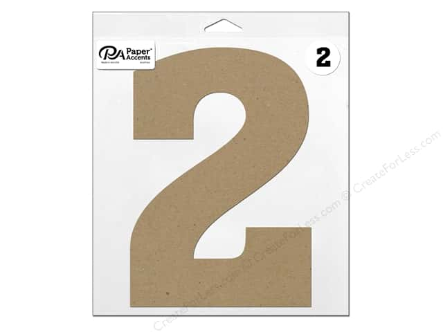 "Paper Accents Chipboard Shape Number ""2"" 11 in. 1 pc. Natural"
