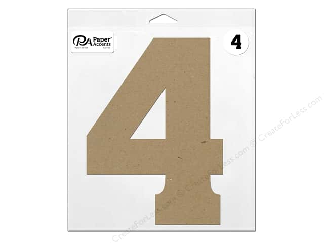 "Paper Accents Chipboard Shape Number ""4"" 11 in. 1 pc. Natural"