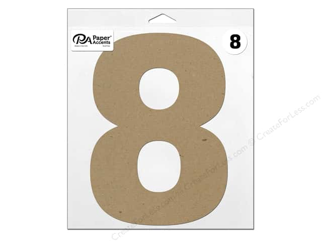 "Paper Accents Chipboard Shape Number ""8"" 11 in. 1 pc. Natural"
