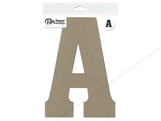 "Paper Accents Chipboard Shape Letter ""A"" 8 in. 1 pc. Natural"