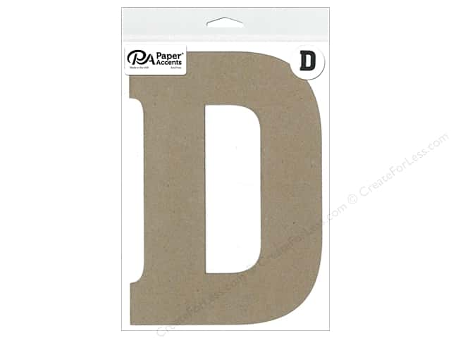 "Paper Accents Chipboard Shape Letter ""D"" 8 in. 1 pc. Natural"