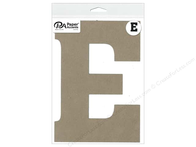 "Paper Accents Chipboard Shape Letter ""E"" 8 in. 1 pc. Natural"