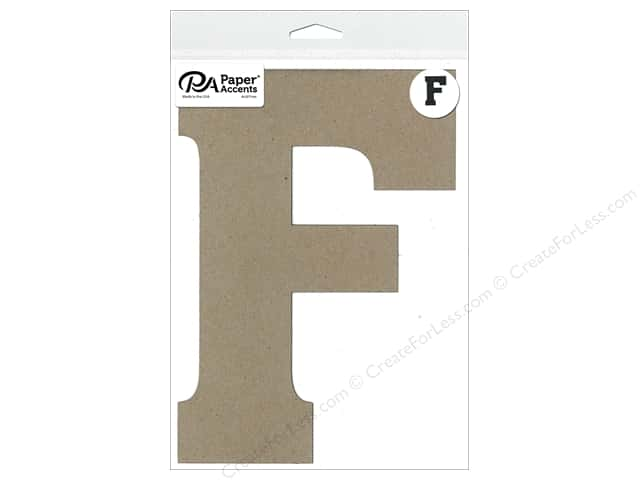 "Paper Accents Chipboard Shape Letter ""F"" 8 in. 1 pc. Natural"