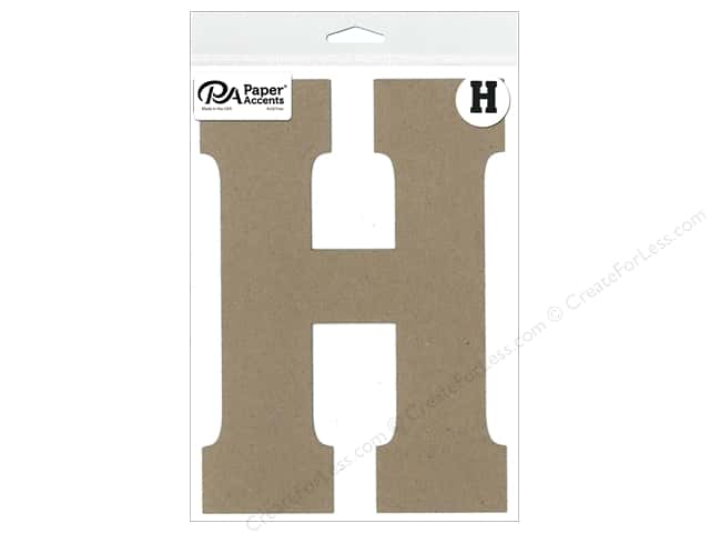 "Paper Accents Chipboard Shape Letter ""H"" 8 in. 1 pc. Natural"