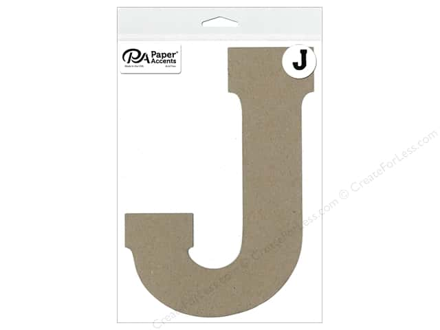 "Paper Accents Chipboard Shape Letter ""J"" 8 in. 1 pc. Natural"