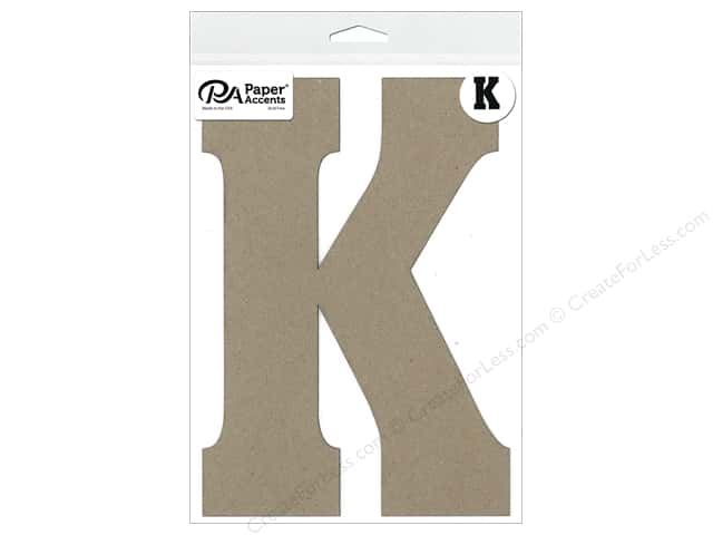 "Paper Accents Chipboard Shape Letter ""K"" 8 in. 1 pc. Natural"
