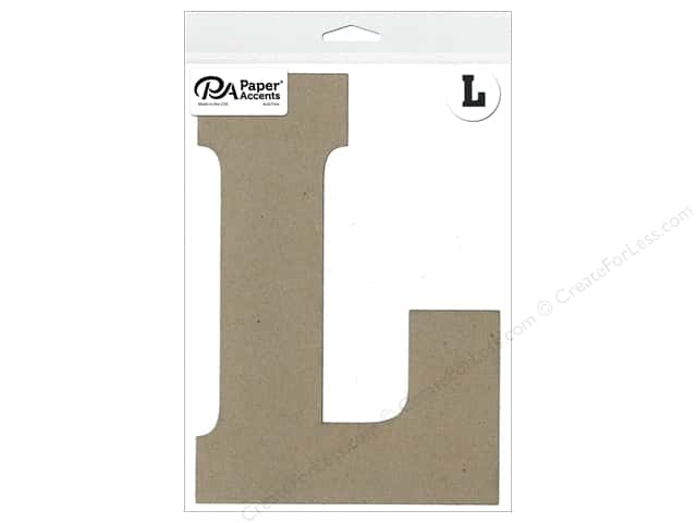 "Paper Accents Chipboard Shape Letter ""L"" 8 in. 1 pc. Natural"