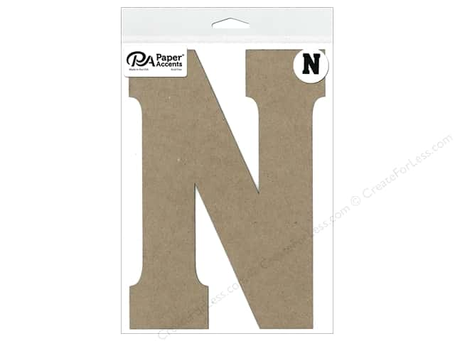 "Paper Accents Chipboard Shape Letter ""N"" 8 in. 1 pc. Natural"