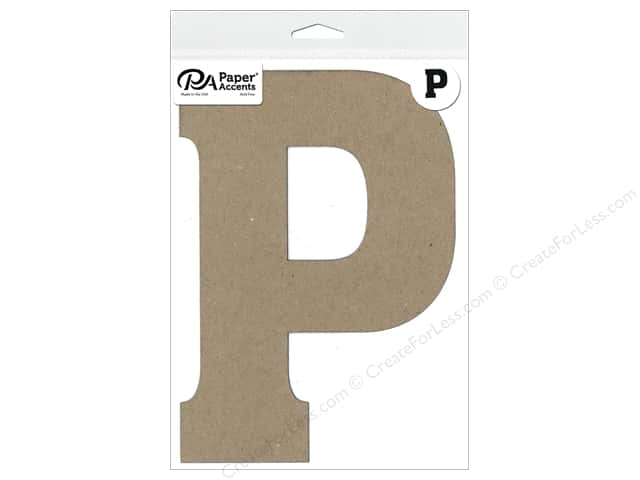 "Paper Accents Chipboard Shape Letter ""P"" 8 in. 1 pc. Natural"