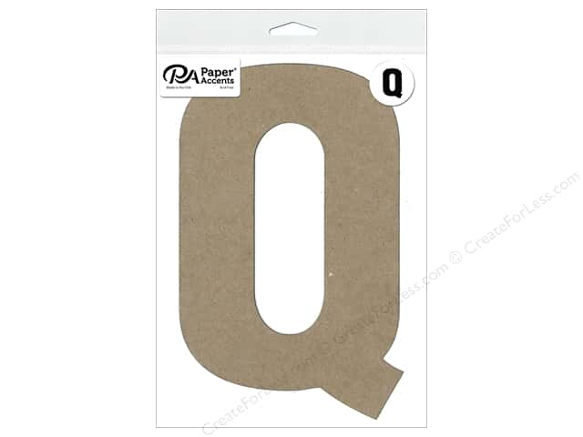 "Paper Accents Chipboard Shape Letter ""Q"" 8 in. 1 pc. Natural"
