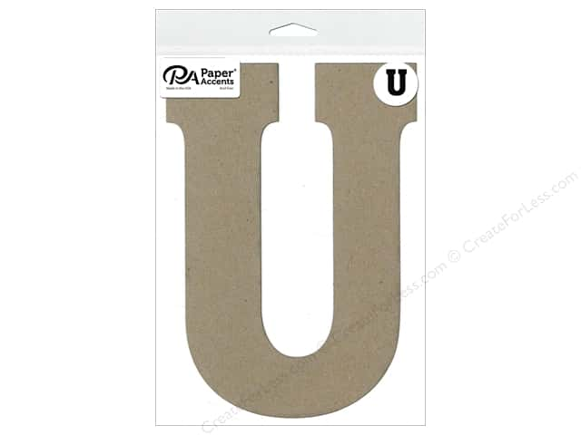"Paper Accents Chipboard Shape Letter ""U"" 8 in. 1 pc. Natural"