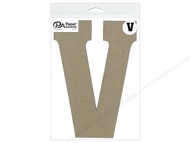 "Paper Accents Chipboard Shape Letter ""V"" 8 in. 1 pc. Natural"