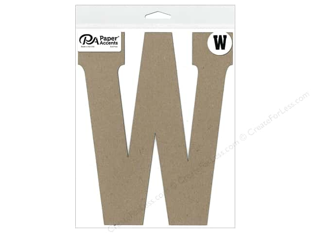 "Paper Accents Chipboard Shape Letter ""W"" 8 in. 1 pc. Natural"