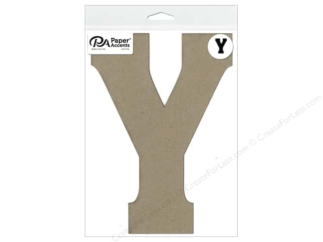 "Paper Accents Chipboard Shape Letter ""Y"" 8 in. 1 pc. Natural"