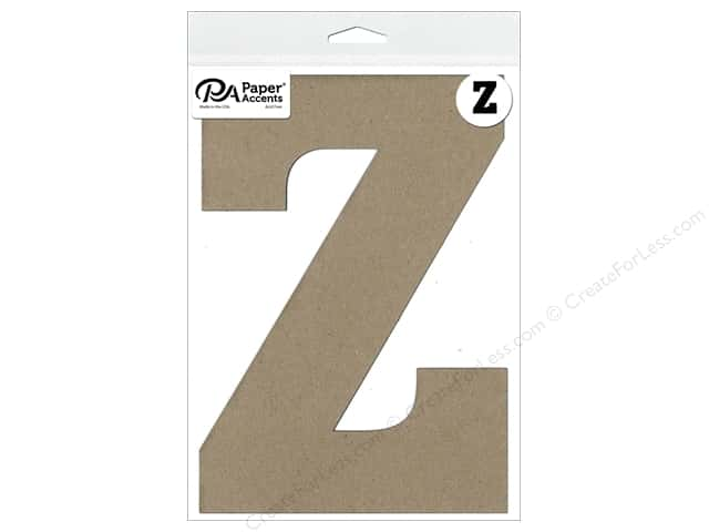 "Paper Accents Chipboard Shape Letter ""Z"" 8 in. 1 pc. Natural"