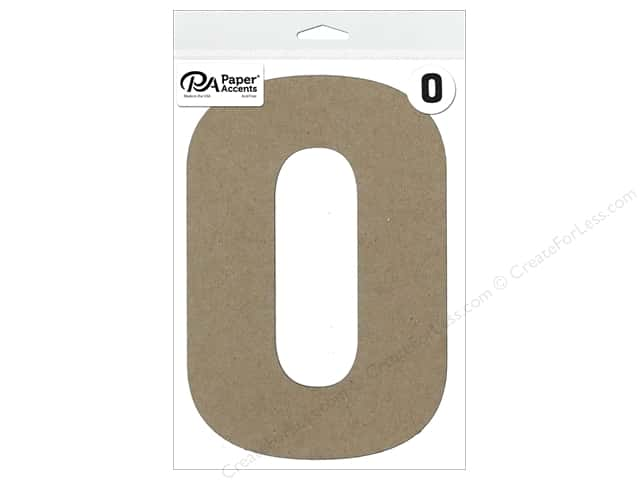 """Paper Accents Chipboard Shape Number """"0"""" 8 in. 1 pc. Natural"""