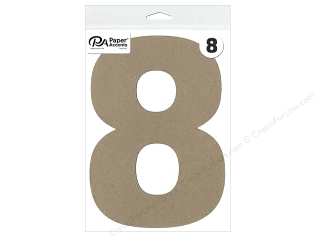 "Paper Accents Chipboard Shape Number ""8"" 8 in. 1 pc. Natural"