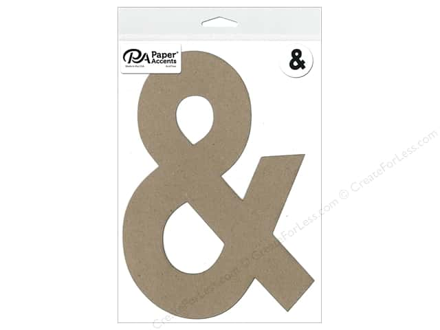 "Paper Accents Chipboard Shape Punctuation ""&"" 8 in. 1 pc. Natural"