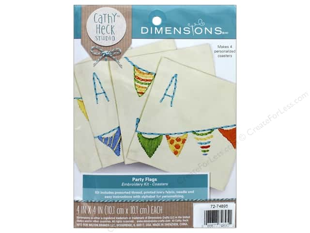 Dimensions Embroidery Kit Cathy Heck Coasters Party Flags