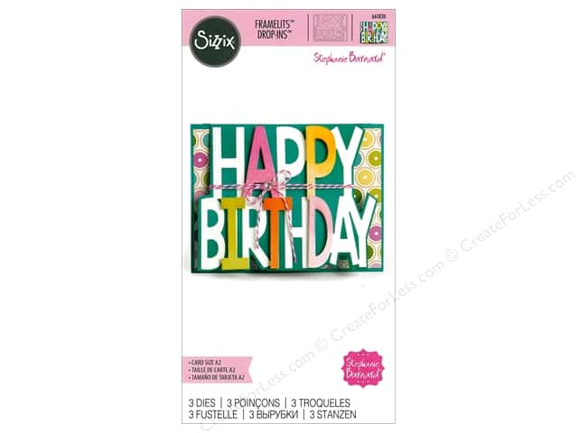 Sizzix Dies Stephanie Barnard Framelits Card Drop In Happy Birthday