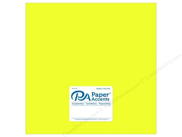 Paper Accents Cardstock 12 x 12 in. #8843 Fluorescent Neon Yellow 5 pc.