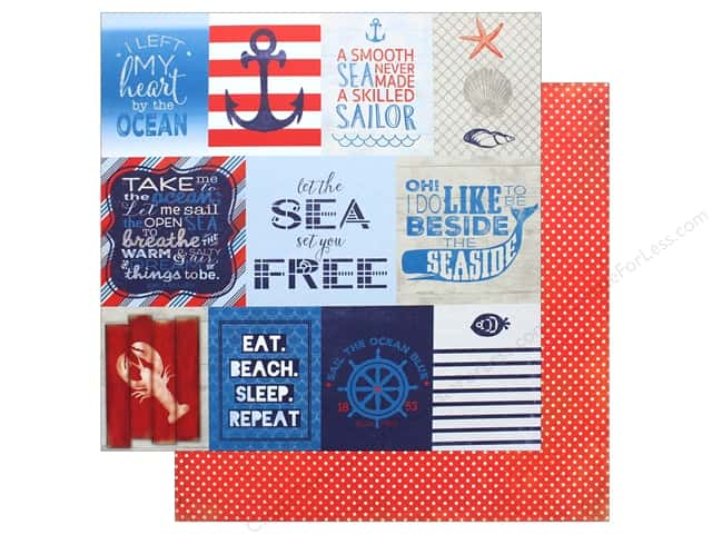 "Authentique Collection Seafarer Paper 12""x 12"" Twelve (25 pieces)"