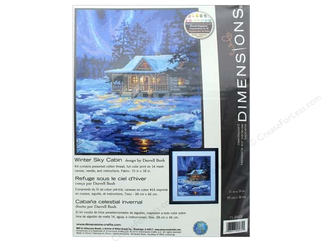 "Dimensions Needlepoint Kit 11""x 14"" Winter Sky Cabin"