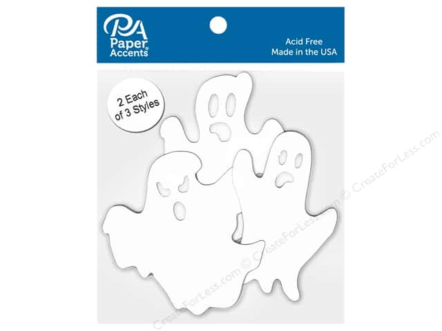 Paper Accents Chipboard Shape Ghosts 6 pc. White