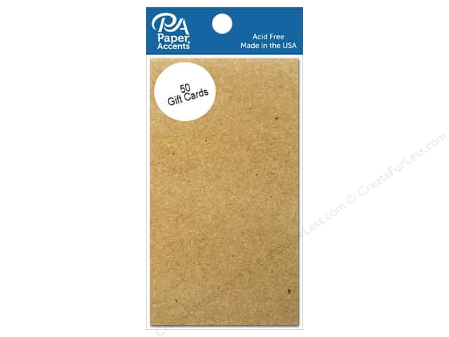 Paper Accent Gift Cards 2 x 3 1/2 in. Brown Bag 50 pc.