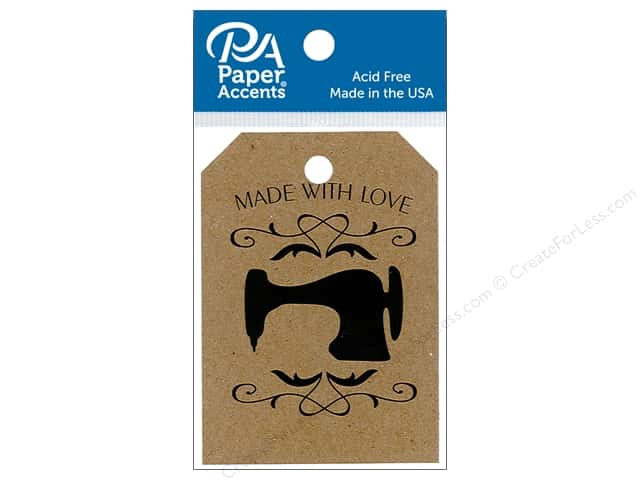 Paper Accents Craft Tags 2 1/8 x 3 in. 25 pc. Sewing Machine Brown Bag