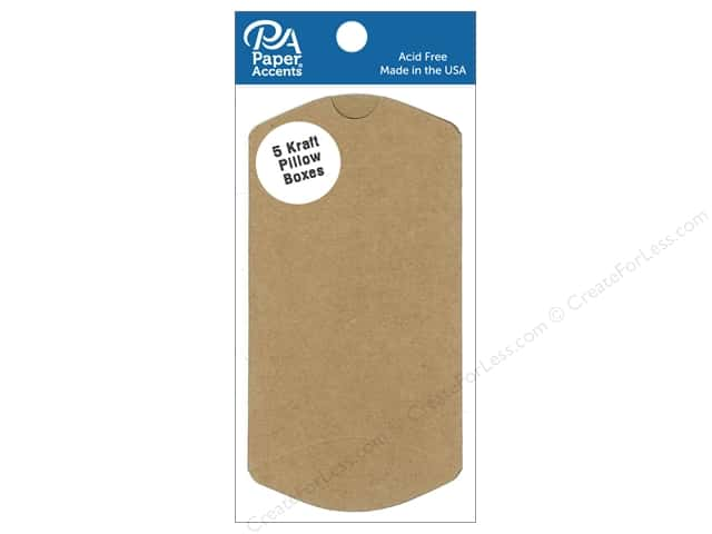 Paper Accents Pillow Box 2 1/2 x 7/8 x 4 in. 5 pc. Kraft