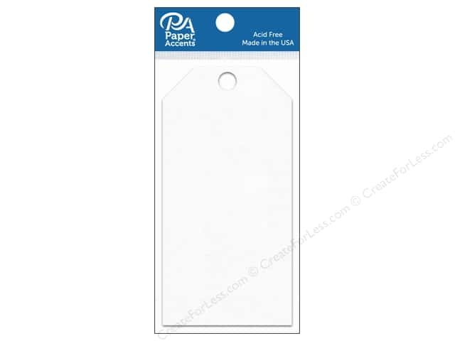 Paper Accents Craft Tags 2 1/2 x 5 1/4 in. 25 pc. White