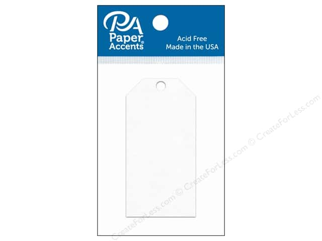Paper Accents Craft Tags 1 5/8 x 3 1/4 in. 25 pc. White