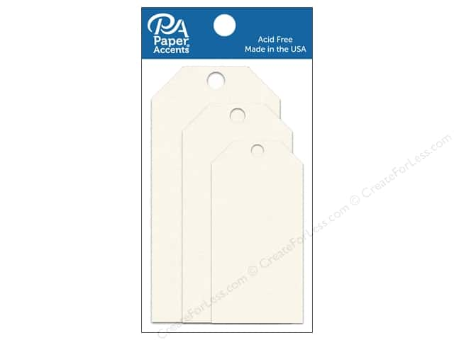 Paper Accents Craft Tags Assorted 25 pc. Cream