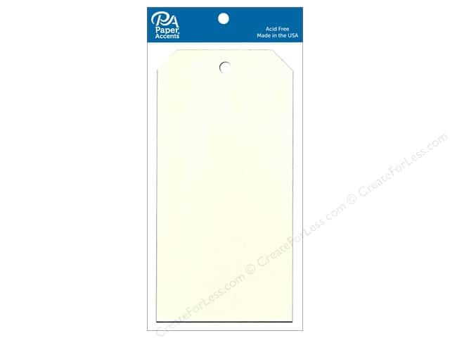 Paper Accents Craft Tags 3 1/8 x 6 1/4 in. 25 pc. Cream