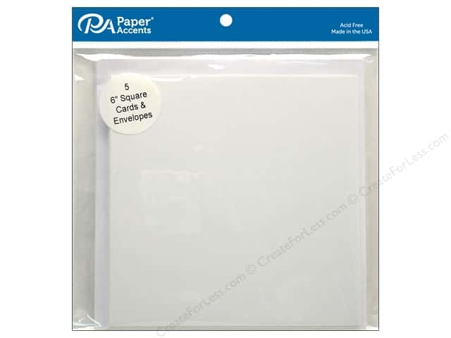 Paper Accents 6 x 6 in. Blank Card & Envelopes 5 pc. #128 White