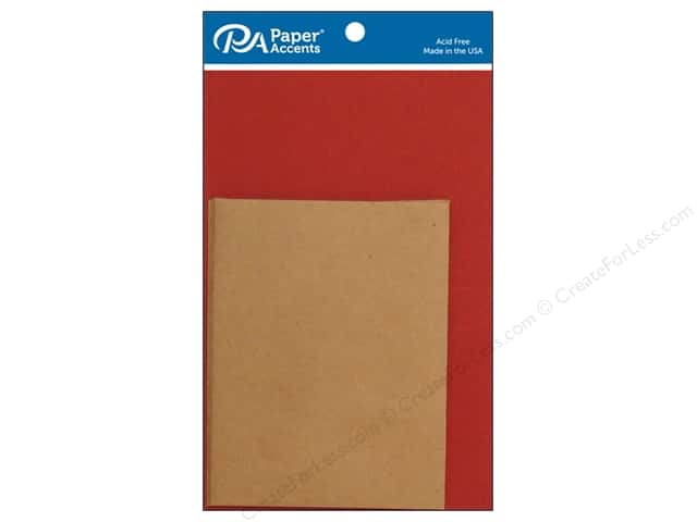Paper Accents 4 1/4 x 5 1/2 in. Blank Card & Envelopes 8 pc. Chili & Brown Bag