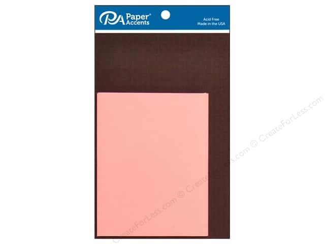 Paper Accents 4 1/4 x 5 1/2 in. Blank Card & Envelopes 8 pc. Espresso & Light Pink