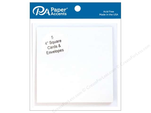 Paper Accents 4 x 4 in. Blank Card & Envelopes 5 pc. #128 White
