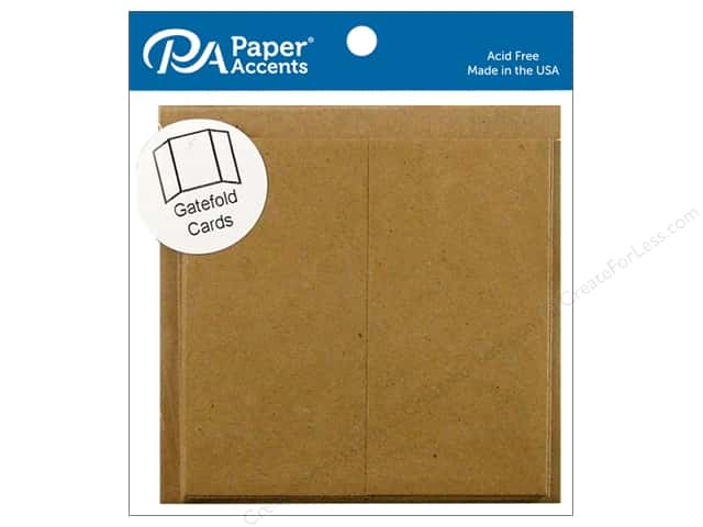 Paper Accents 6 x 6 in. Blank Card & Envelopes 5 pc. Gate Fold Brown Bag