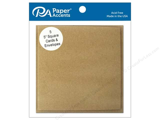 Paper Accents 5 x 5 in. Blank Card & Envelopes 5 pc. #357 Brown Bag
